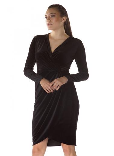 6ixty8ight Kadife V Yaka Uzun Kollu Abiye Elbise Siyah